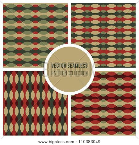 Set Of Four Vector Wavy Line Ellipse Retro Patterns In Green And Red