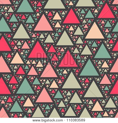 Vector Seamless Colorful Pink Teal Geomertric Triangle Shape Jumble Pattern On Dark Background