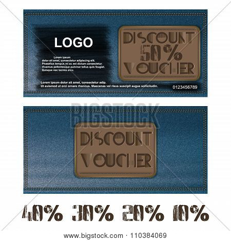 discount  voucher for jeans background