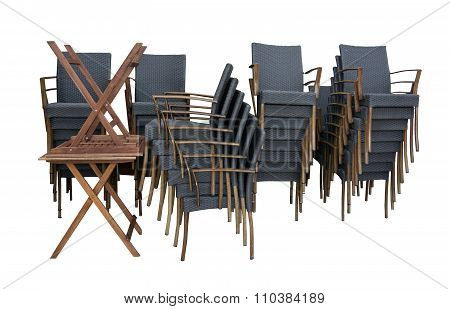 Collection of black rattan chairs
