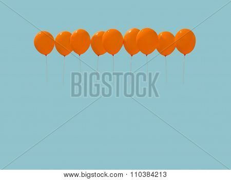 Nine orange balloons