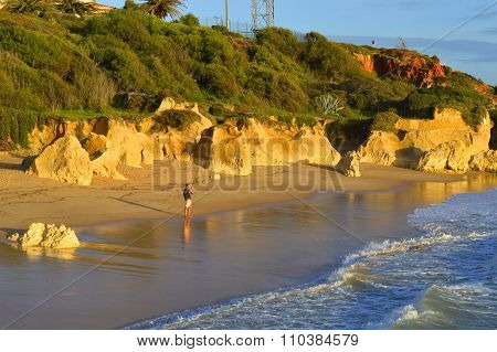 Man fishing from Sietskes Beach on the Algarve