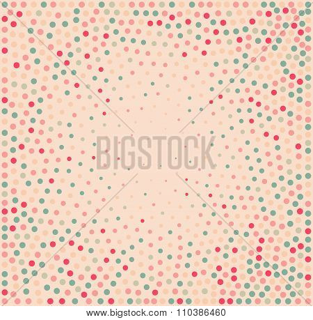 Vector Abstract Stippeling Pink Blue White Circles Dotwork Frame Background