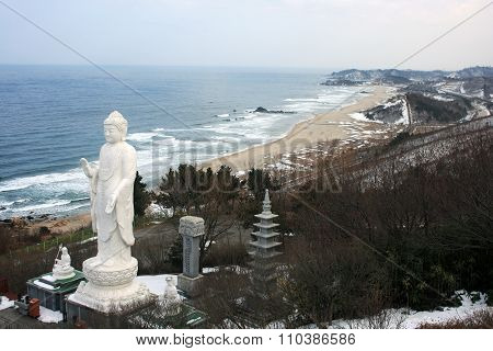 Buddha statue. on the border between South Korea and North Korea.