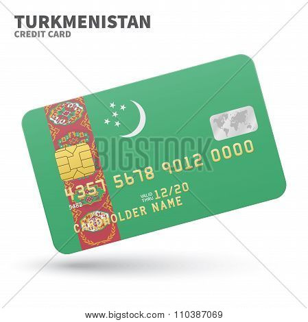 Credit card with Turkmenistan flag background for bank, presentations and business. Isolated on whit