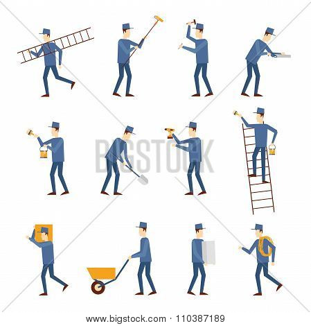 Set of construction worker