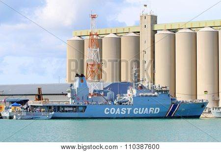 PORT LOUIS, MAURITIUS ISLAND - OCTOBER 30, 2015: MCGS Barracuda is an offshore patrol vessel of National Coast Guard Mauritius. Displacement: 1,350 tons full load, length: 74.1 m, speed: 42 km/h.