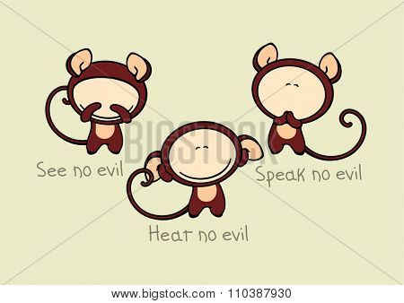 See no evil, hear no evil, speak no evil (raster version)