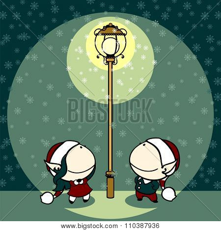 Couple of fairies looking at snowflakes falling in a light of a lamppost (raster version)
