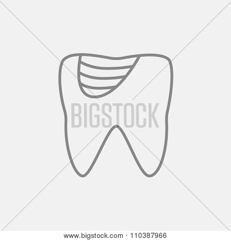 Tooth decay line icon for web, mobile and infographics. Vector dark grey icon isolated on light grey background.