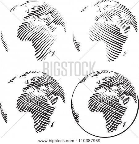 Simple World Vector Echting Sketch