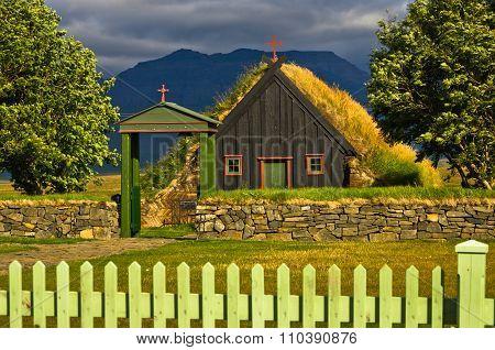 Vídimyrarkirkja turf and wooden church built in 1834 at summer sunny day