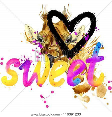 giraffe and text sweet. giraffe T-shirt graphics. giraffe illustration with splash watercolor textur