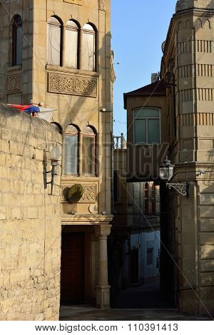 Slovenian embassy in Baku, amongst narrow streets in the Old City