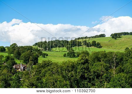 Green Meadows And Trees Near Ilam Hall  In Peak District National Park