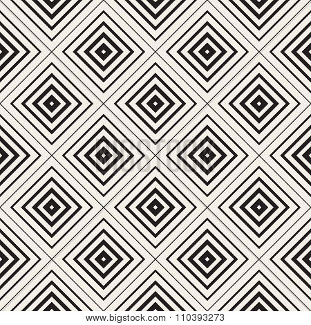 Vector Seamless Black And White Rhombus Tiling  Pattern. Concentric Lines Increasing Stroke Weight T