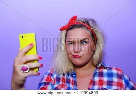 Pretty Blog Girl Wink During Selfie With Smartphone