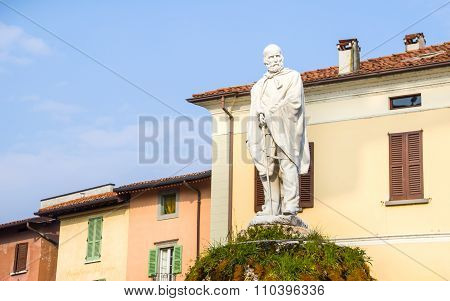 Garibaldi Statue In The Main Iseo Village Square