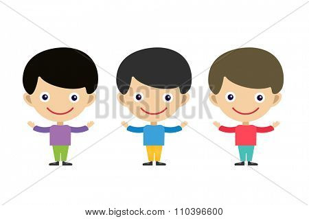Cute cartoon boys brothers. Kids boy isolated. Small kids, children clothes. Kids posing. Kids background. Children people. Kids, teens, smile face, kids people silhouette