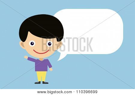Cute cartoon boy and bubble. Kids boy isolated. Small kid, children clothes. Kids talking. Kids background. Children people. Kid, teen, smile face, kids people silhouette