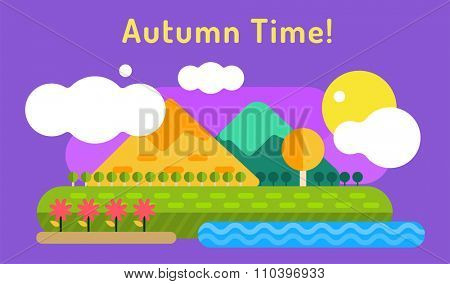 Autumn background. Autumn cartoon style background. Yellow autumn colors. Autumn landscape illustration. Autumn leaves, trees, mountains. Outdoor Autumn. Summer goodbye. Autumn vector landscape