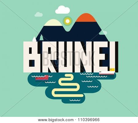 Brunei in Borneo is a beautiful country to visit. vintage vector illustration.