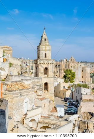 Panoramic View Of Typical Church Of Matera Unesco European Capital Of Culture 2019 Under Blue Sky