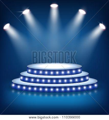 Illuminated Festive Stage Podium with Lamps on Blue