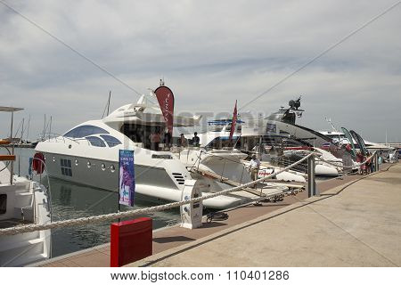 The White Yacht Are Moored At Port