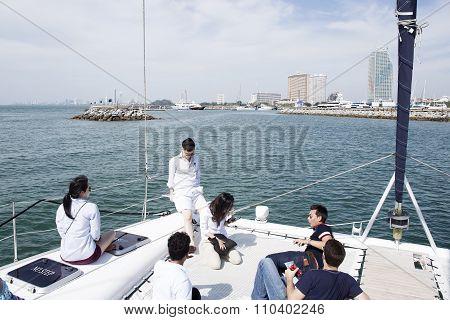 Many Tourists On The Yacht