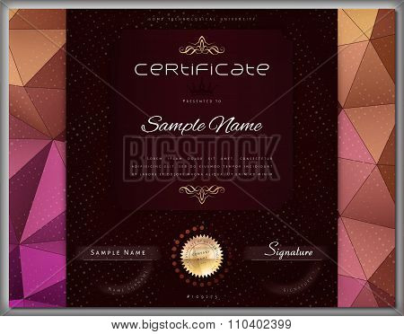 Gift Modern Vintage Certificate / Diploma / Award Template With Color Triangle Background And Elemen