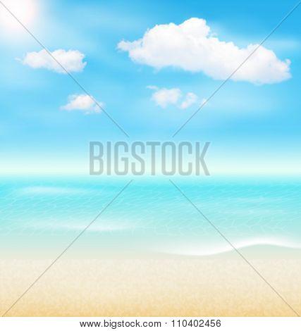 Beach Seaside Sea Shore Clouds. Summer Holiday Vacation