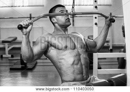 Man in the gym. Working out with weights.Man makes exercises.