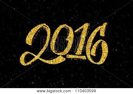 New Year 2016 gold glittering