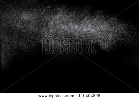 Abstract Splashes And Drops Of Water On Black Background.