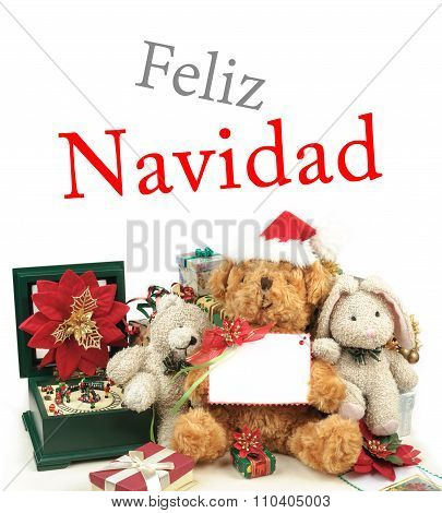 Christmas Greeting Card With Teddy Bear, Gifts & Friends