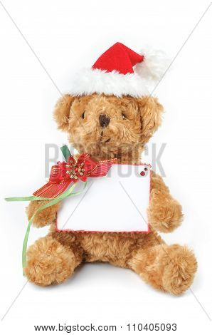Christmas Teddy Bear With White Space Card Isolated