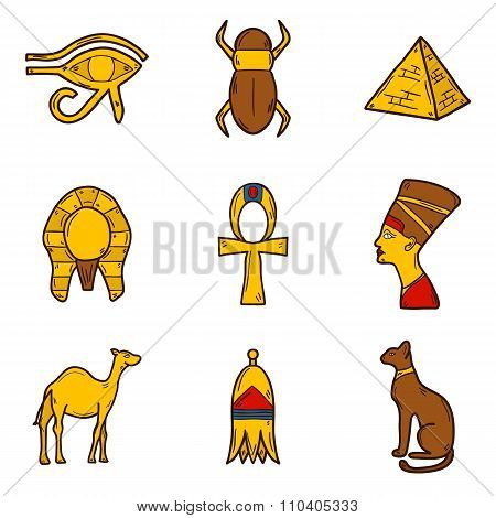 Hand drawn Egypt icons