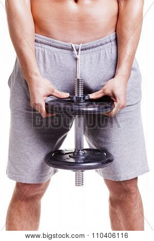 Fit man doing squats with a dumbbell, isolated over a white background