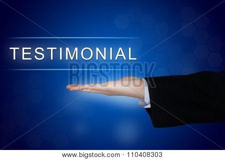 Testimonial Button On Blue Background