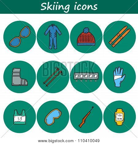 Skiing hand drawn icons