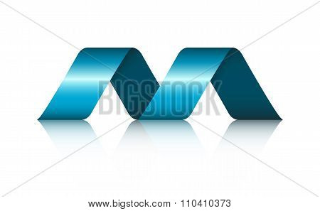 Abstract Shape Spiral Ribbon Logo With Reflection