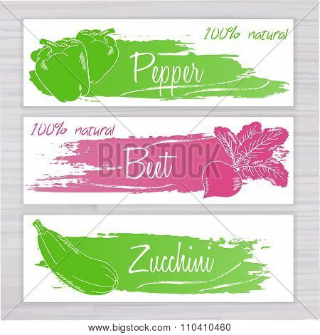 Vector Illustration Of Vegetables Banners With Brushed Stripe On Wooden Backdrop. Pepper, Beet, Zucc