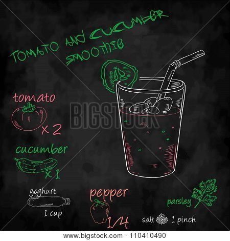 Vector Vegetables Smoothie With Ingredients List. Tomato, Cucumber, Yogurt, Pepper