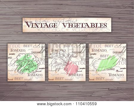 Vintage Hand Drawn Vector Set Of Vegetables Flashcards On Wooden Backdrop. Broccoli, Beet And Zucchi