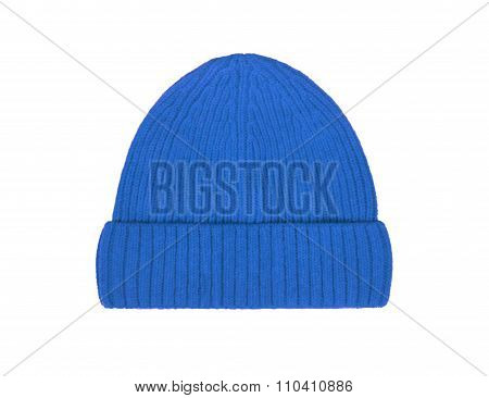 Blue Wool Hat Isolated On White Background