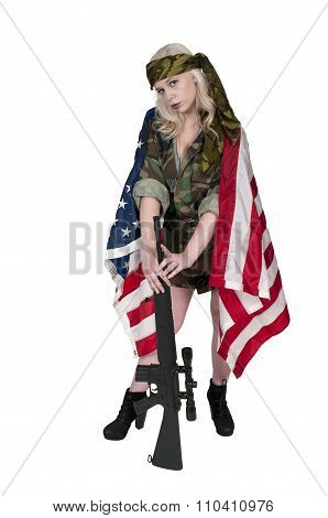 Woman Soldier With American Flag