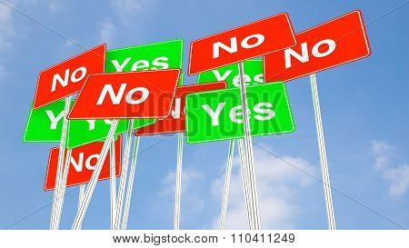 Multiple Yes And No Signs With Cloudy Blue Sky