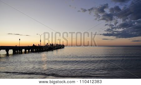 Orange Indian Ocean Sunset: Jetty Perspective