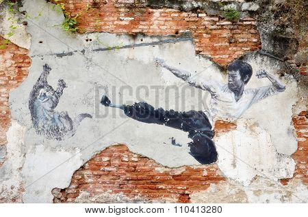 Painting Of A Street Mural Painting 'the Real Bruce Lee Would Never Do This'